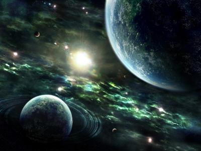 行星,地球,星星,环,星星,空间,行星,太阳,地球,星云