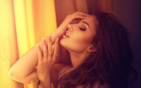 女孩,黑妞,时装模特,构成,海绵,手,戒指