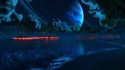 岛,热带的thetis,晚上,数字,棕榈树,黄昏,星球