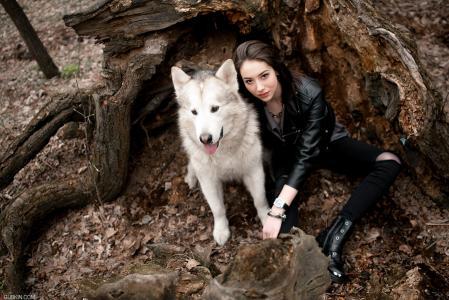 女孩,狗,在森林里,心情,在户外