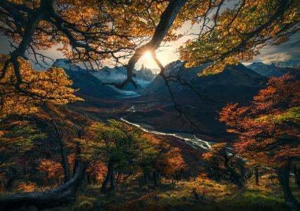 性质,秋天,照片,最大的里维,阿根廷,巴塔哥尼亚,山,谷,日落
