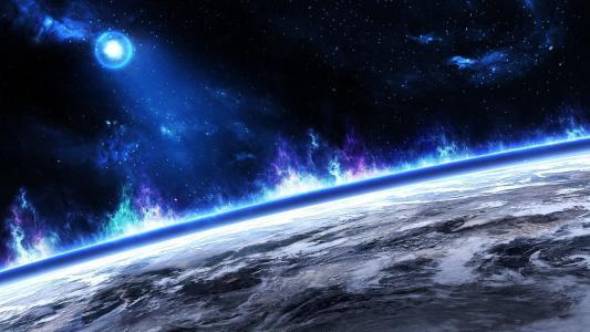 地平线,天空,表面,空间,行星