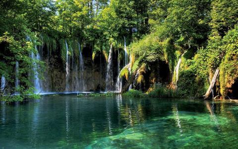 十六湖,湖,树,绿树,瀑布,美景