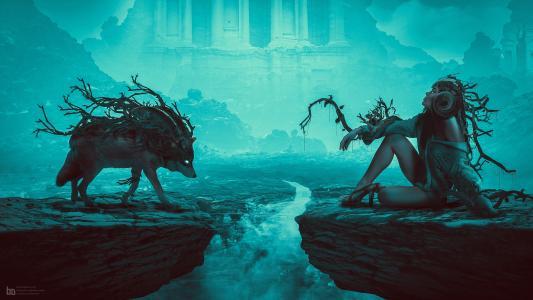 魔法,生物,数字,艺术狼妈妈,雾,幻想,动物