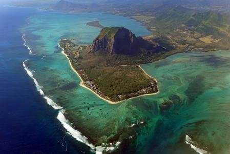 岛毛里求斯,美丽,海洋,岛,山