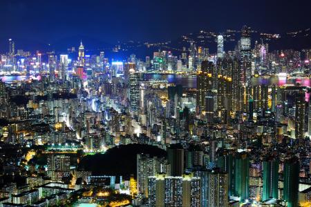 晚上,香港,亚洲,中国,光,晚上,城市,香港