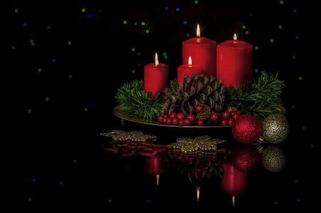 圣诞节,背景,设计,蜡烛