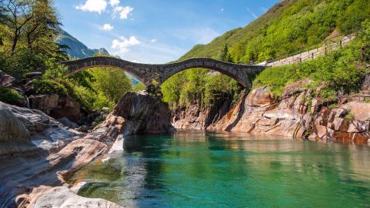 拱,桥,山,天空,河