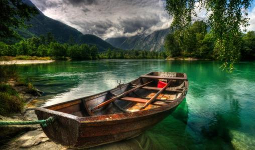 挪威,船,湖,森林,山,钓鱼,夏天,美丽