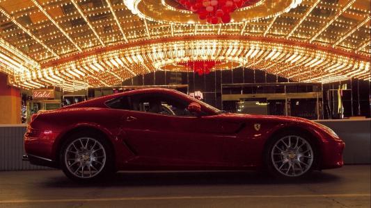 法拉利,手推车,晚上,红色,灯