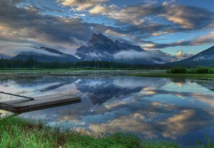 自然,河,山,超级照片,码头,钓鱼
