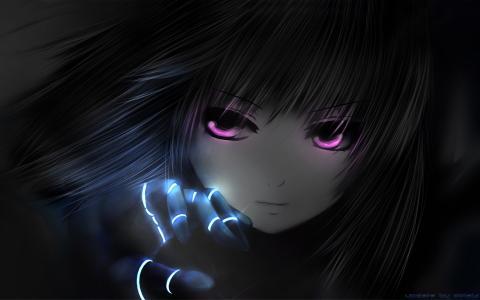 战斗天使阿丽塔,女孩,粉红色,黑色,动漫,眼睛