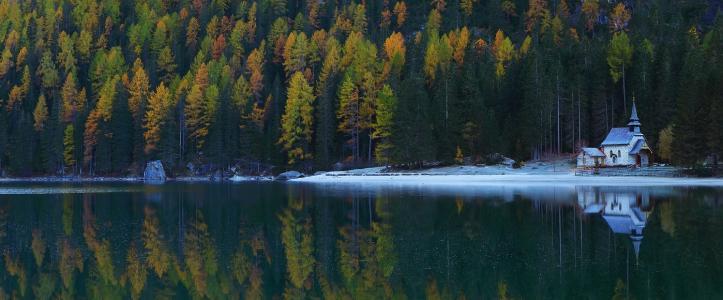 湖,森林,秋天,教堂,倒影