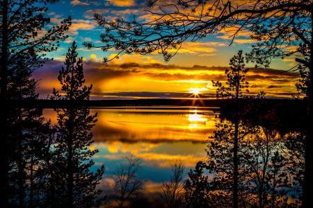 天空,云,日落,湖,树,剪影