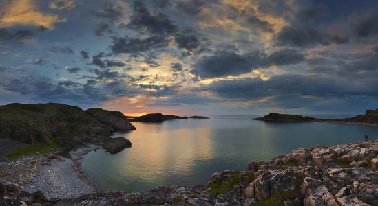 科拉半岛,远东地区,巴伦支海,日落,瓦西里耶夫阿列克谢