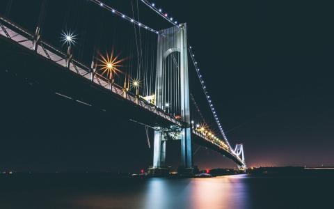 桥,晚上,黑暗的背景