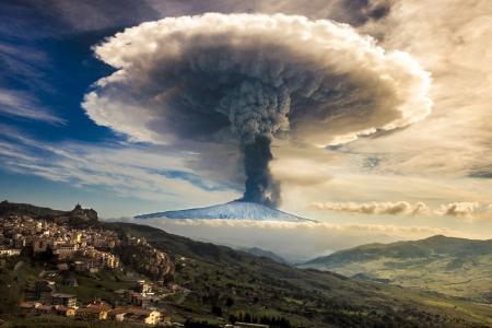 火山,山,意大利,埃特纳火山,小镇,美丽