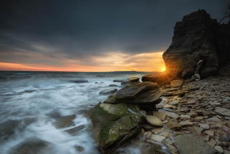 岩石,石头,海,波浪,日落,Ivailo Bosev