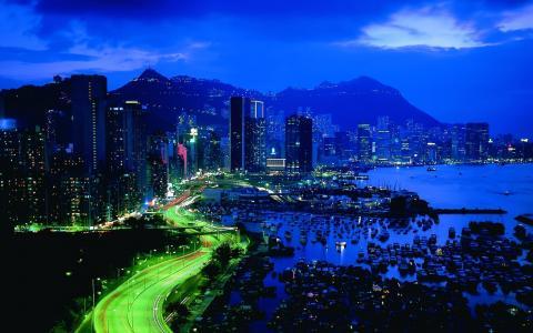 城市,夜,光,建筑,现代