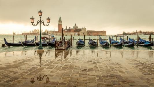 威尼斯,贡多拉,码头,水,建筑物,灯笼,美女