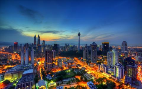 吉隆坡,日落,4k,摩天大楼,城市景观,马来西亚
