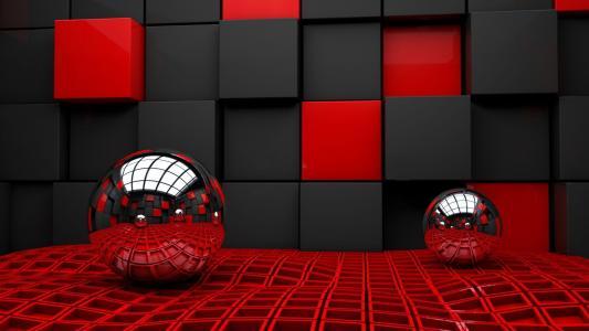 3d,球,多维数据集,笼,织物,反射,背景,红色,黑色,美丽