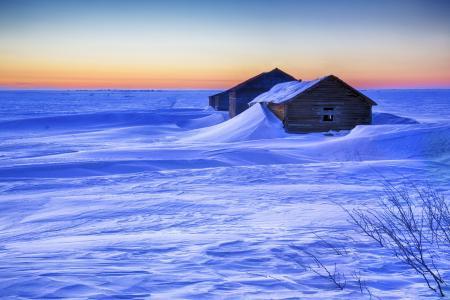 日落,冬天,房子,雪,漂移,景观