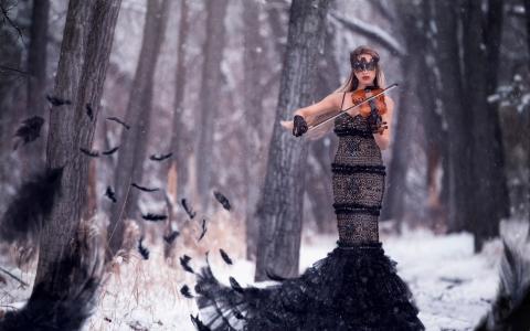 金发,创意,图像,冬季,美丽
