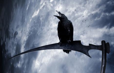 幻想,乌鸦,天空,镰刀