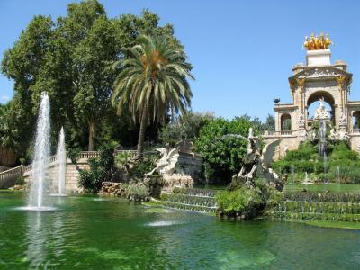 自然,景观,巴塞罗那,喷泉,池塘,雕塑,树木
