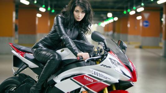 摩托车,女孩,头发