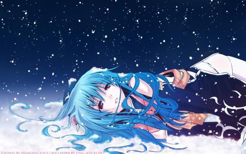 动漫,冻结的女孩,Hinanawi tenshi,冬天,雪,eretto