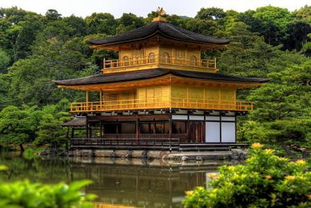 日本,京都,宝塔,树木,湖泊,美景