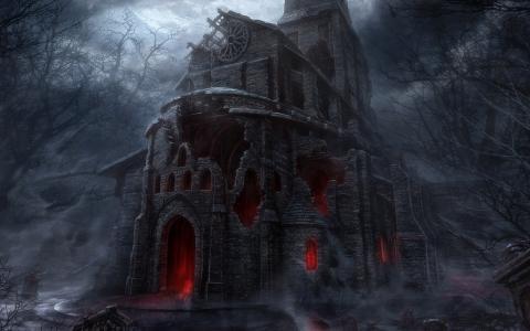 废墟,教堂,地狱般的力量,邪恶