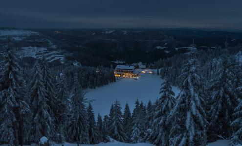冬天,房子,夜晚,天空,雪,树,自然,极光,阿德南Bubalo