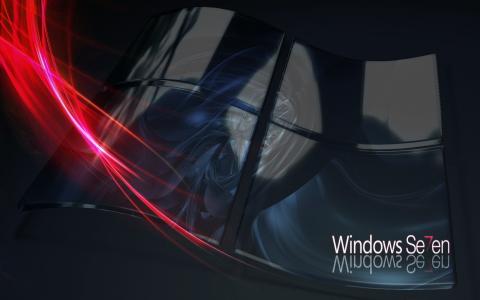 Windows七,七,微软,窗口,线条,标志