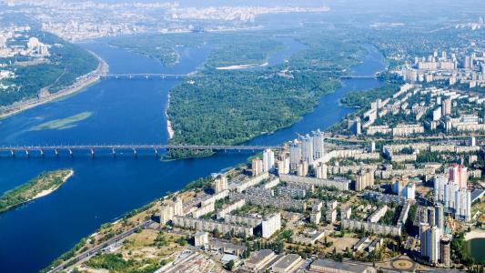基辅,第聂伯,城市,桥梁,堤防
