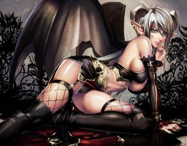 艺术,Atradea,Sadakage,魅魔,女孩,恶魔,魅魔,翅膀,耳朵,耳环