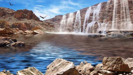 瀑布,峡谷,水,石头,鸟类