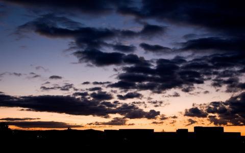 夜空,家,乌云