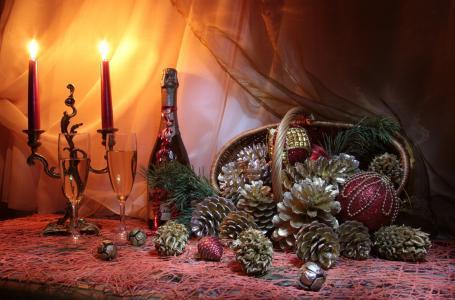 静物,布,篮子,颠簸,玩具,球,蜡烛,瓶,香槟,眼镜,假期,新年,圣诞节
