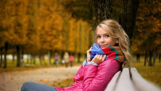 女孩,脸,眼睛,看,秋季,夹克,围巾,胡同,美女