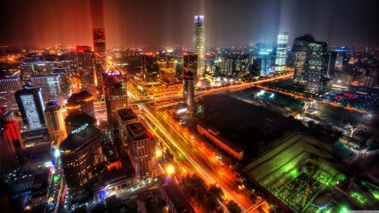 亚洲,中国,夜晚的城市,灯