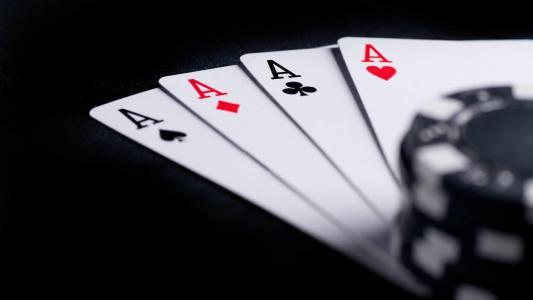 卡,扑克,ace,芯片,宏,黑暗的背景