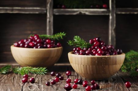 Oxana Denezhkina,板,碗,浆果,小红莓,树枝,针,云杉