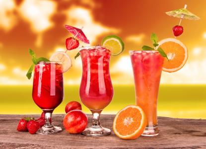 饮料,果汁,李子,桔子,草莓,玻璃