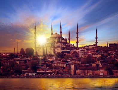 土耳其,房子,河,日落,天空,宫殿,伊斯坦布尔,城市