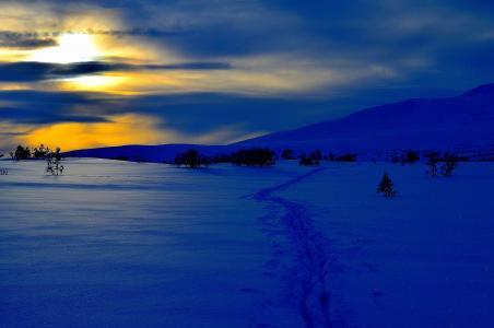 冬天,日落,雪,snowdrifts,山,景观