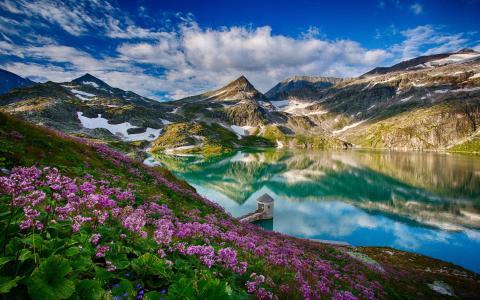 春天,高山,湖泊,美丽