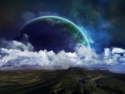 行星,河,丘陵,表面,浮雕,云